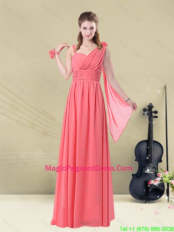 2016 Popular Asymmetrical Column Ruched Pageant Dresses