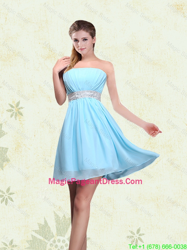 2016 Strapless A Line Ruching Sequins Chiffon Pageant Dresses