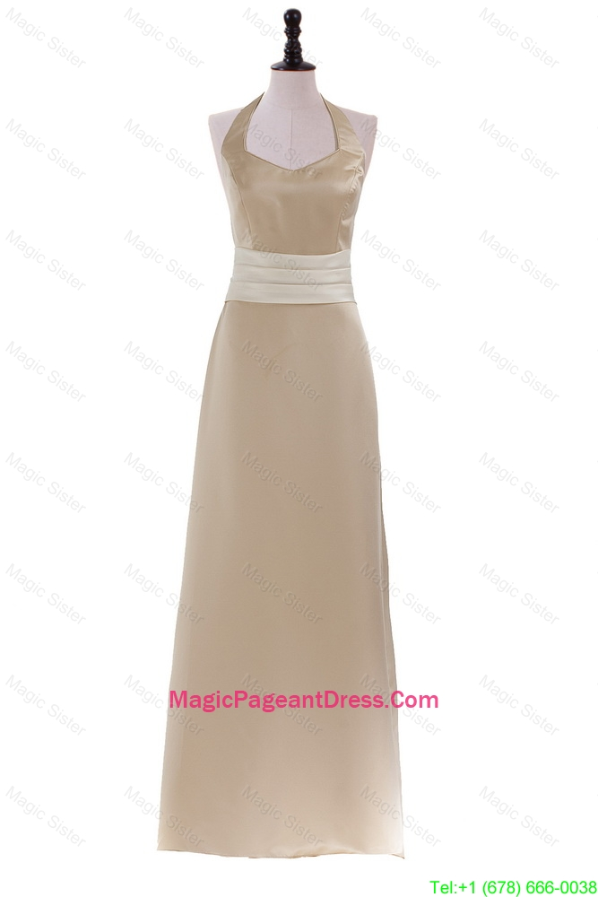Champagne Halter Top Sweep Train Long Brand New Pageant Dresses