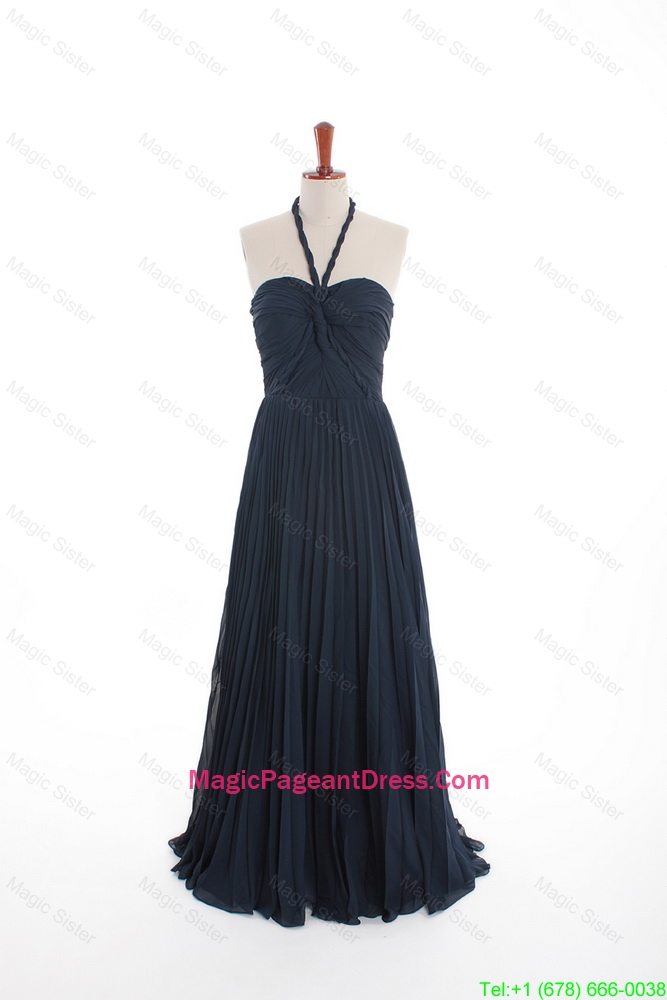 New Style Navy Blue Long Pageant Dresses with Pleats for 2016