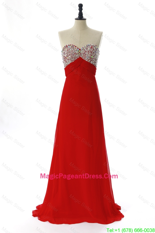 Exquisite 2016 Winter Beading Red Pageant Dresses with Sweep Train