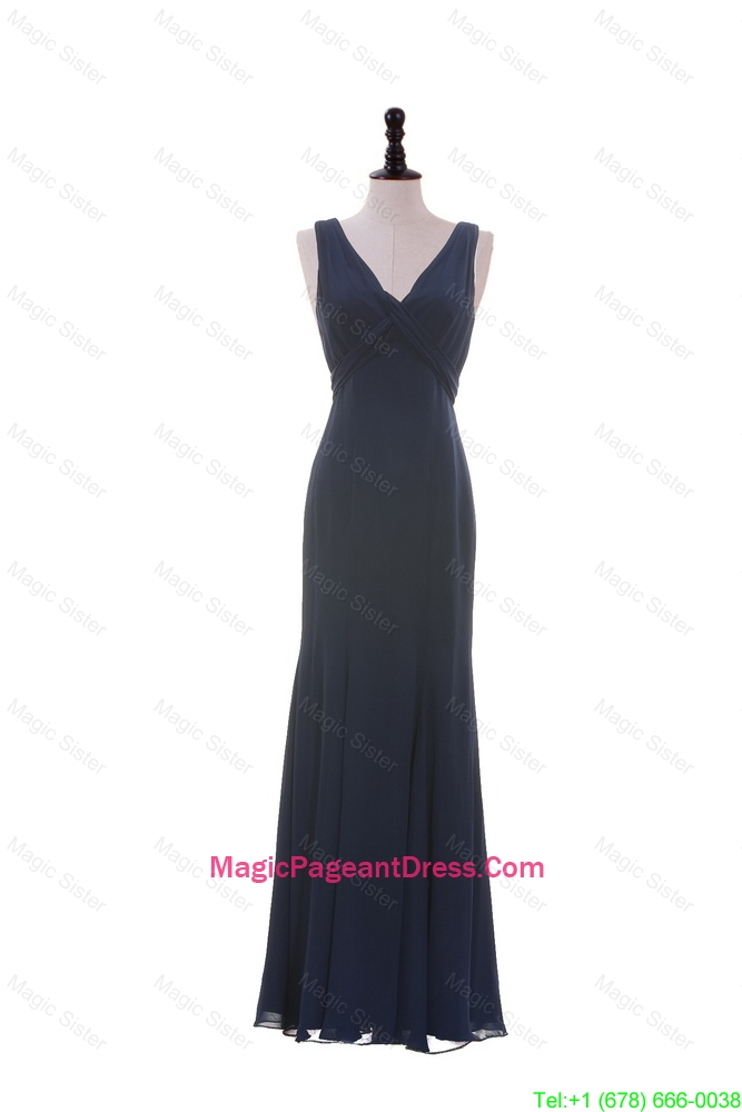 Cheap V Neck Navy Blue Pageant Dresses for Graduation