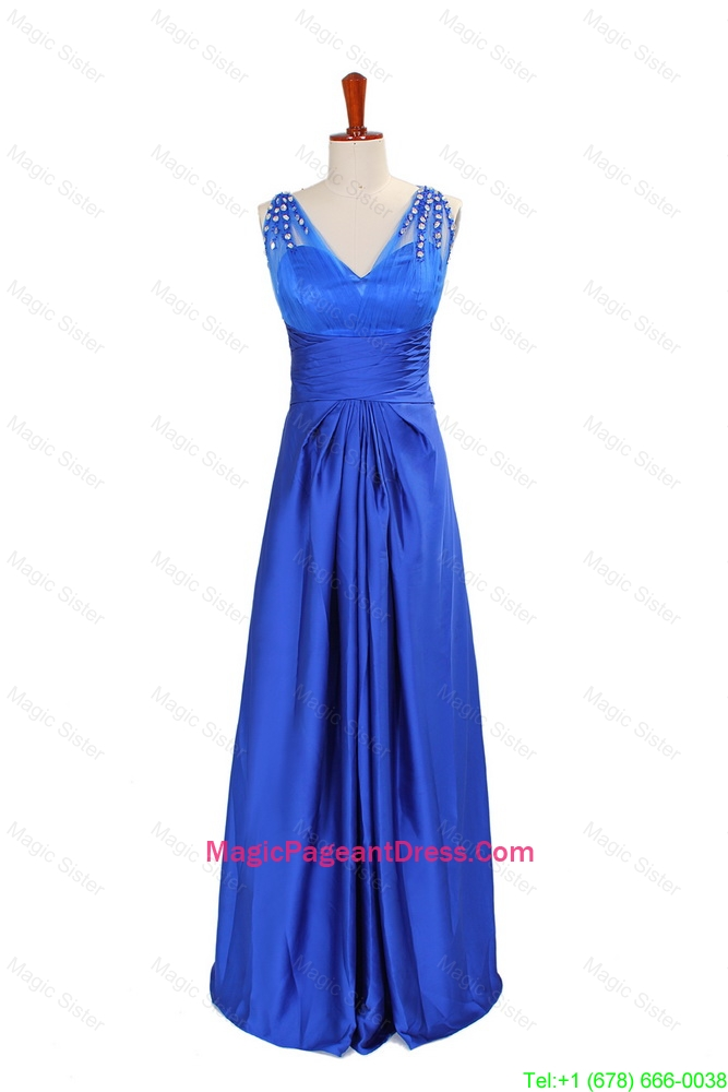 2016 Winter New Empire V Neck Blue Pageant Dresses with Beading