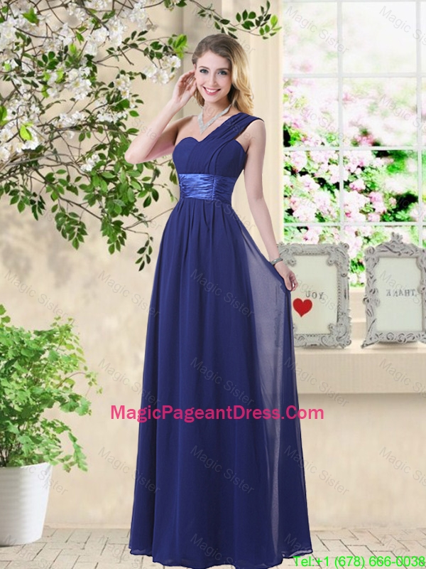 Cheap One Shoulder Floor Length Pageant Dresses in Navy Blue