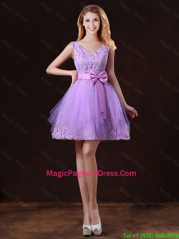 Discount V Neck Tulle Pageant Dresses with Bowknot