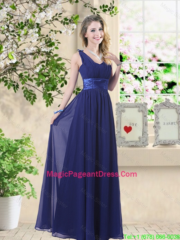 Wonderful Ruched Navy Blue Pageant Dresses with V Neck