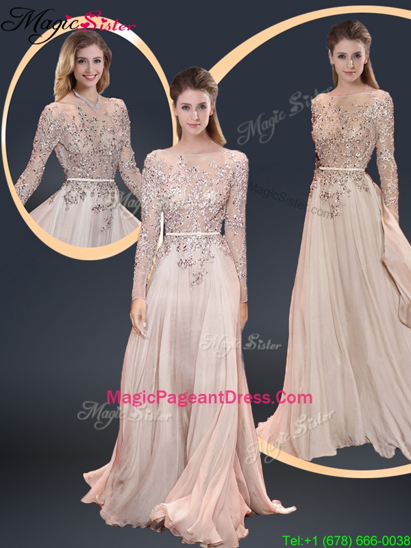 Cheap Brush Train Champagne Pageant Dresses with Beading
