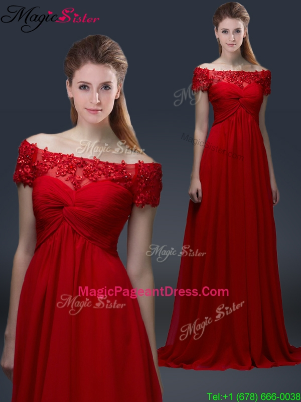 Simple Off the Shoulder Short Sleeves Red 2016 Pageant Dresses with Appliques