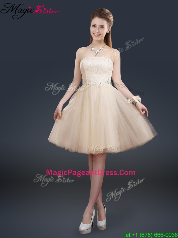 Best Strapless Lace Champagne Pageant Dresses