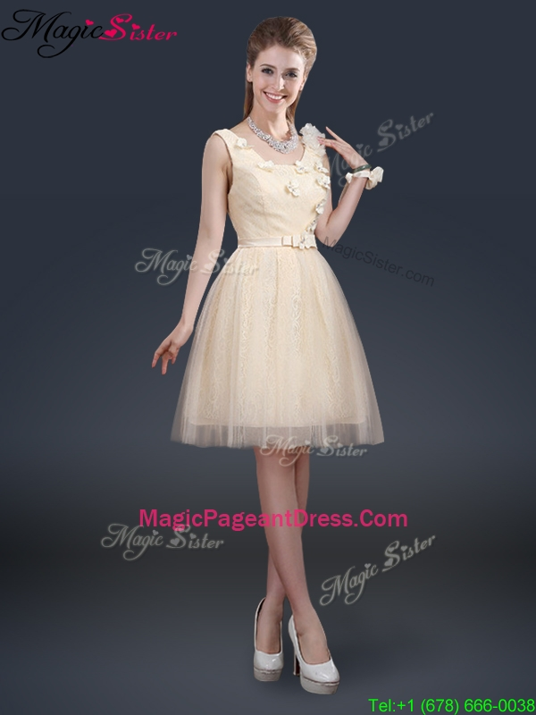 Perfect Scoop Pageant Dresses with Appliques and Belt