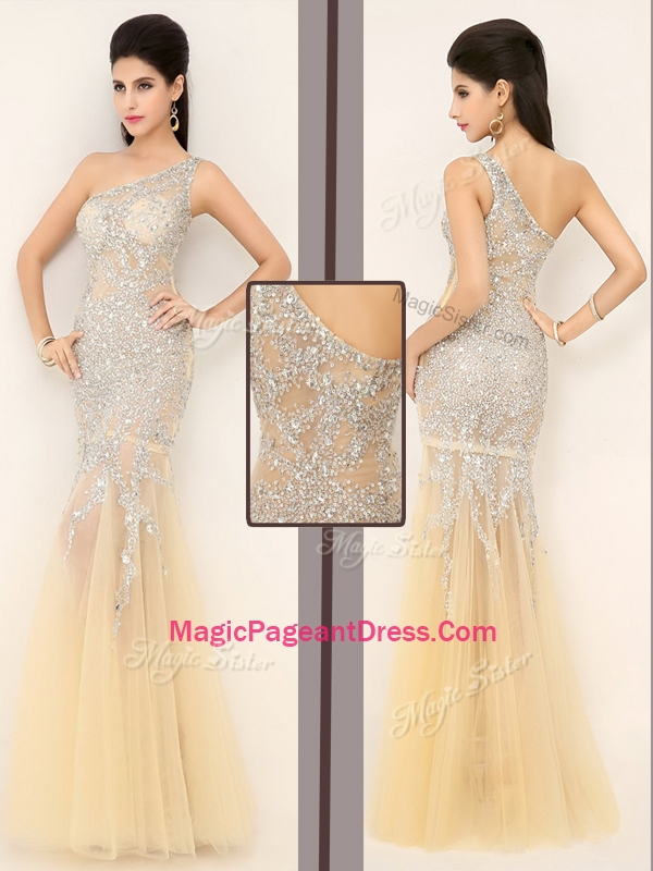 2016 Gorgeous Mermaid One Shoulder Beading Pageant Dresses in Champagne
