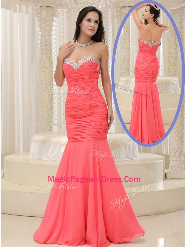 2016 New Style Mermaid Sweetheart Coral Red Pageant Dresses