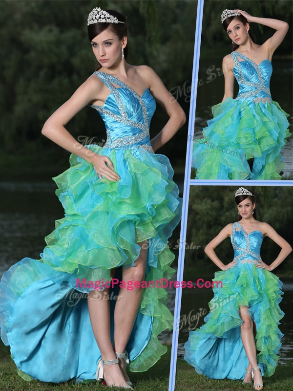 2016 Pretty One Shoulder Side Zipper High Low Pageant Dress in Multi Color