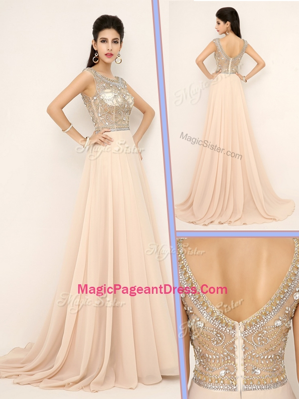 Pretty Empire Bateau Brush Train Exquisite Pageant Dresses with Beading