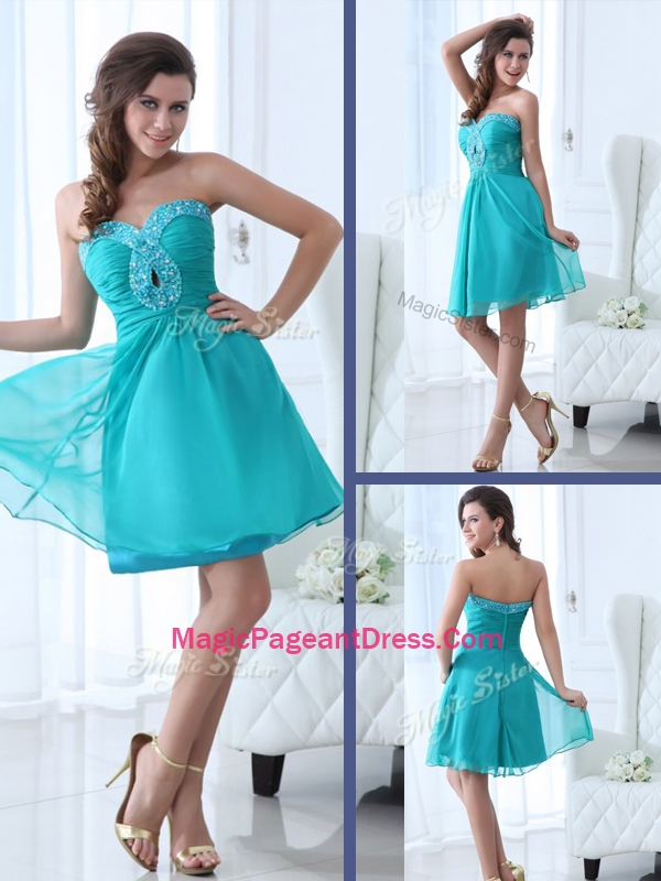 Pretty Short Sweetheart Beading Formal Pageant Dresses in Turquoise