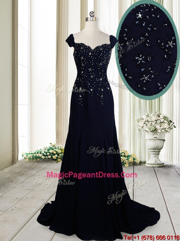 Luxurious Brush Train Straps Cap Sleeves Navy Blue Pageant Dress in Chiffon