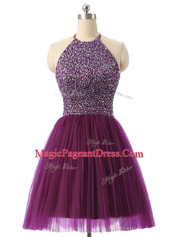 A-line Pageant Dress for Teens Dark Purple Halter Top Tulle Sleeveless Mini Length Backless