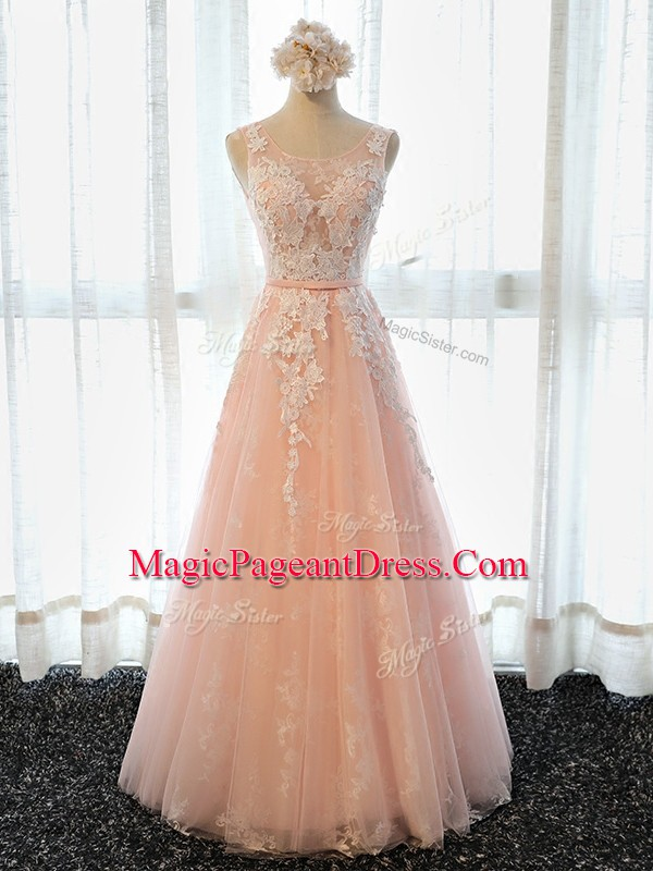 Fabulous Sleeveless Appliques Lace Up Pageant Dress for Teens