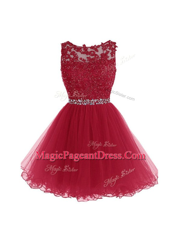 Beading and Lace and Appliques Pageant Gowns Burgundy Zipper Sleeveless Mini Length