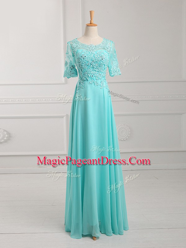 Delicate Aqua Blue Half Sleeves Chiffon Zipper Pageant Dress for Girls for Prom and Military Ball and Beach