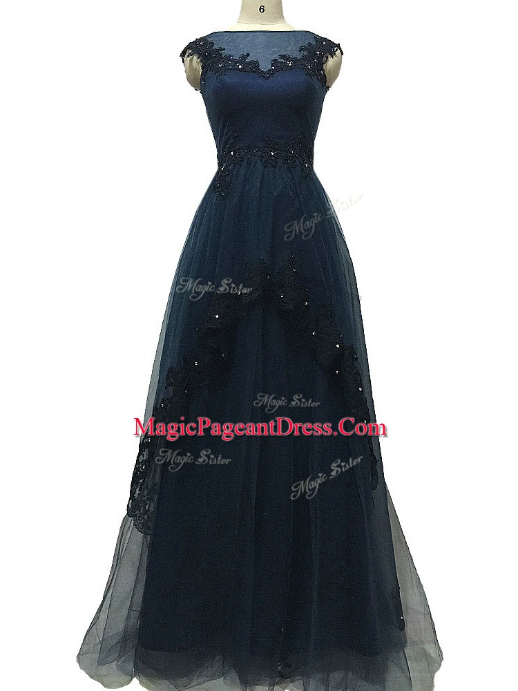 Floor Length Zipper Custom Made Pageant Dress Navy Blue for Prom and Beach with Lace and Appliques