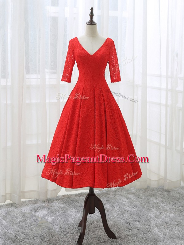 Fancy A-line Evening Gowns Red V-neck Lace Half Sleeves Tea Length Lace Up