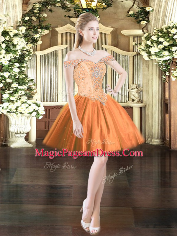Glorious Orange Red Ball Gowns Tulle Off The Shoulder Sleeveless Beading Mini Length Lace Up Pageant Dress Wholesale