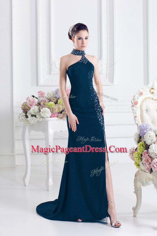 Custom Made Navy Blue Column/Sheath Halter Top Sleeveless Elastic Woven Satin Sweep Train Lace Up Beading Pageant Dress