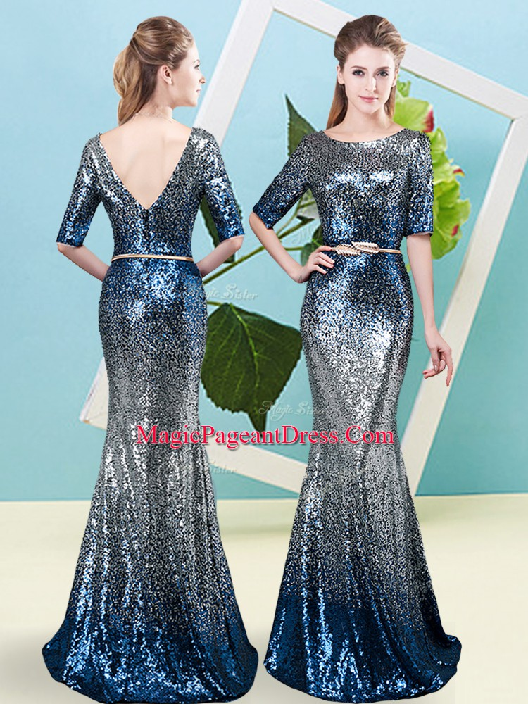 Luxury Half Sleeves Sequined Floor Length Zipper Glitz Pageant Dress in Multi-color with Sequins and Belt