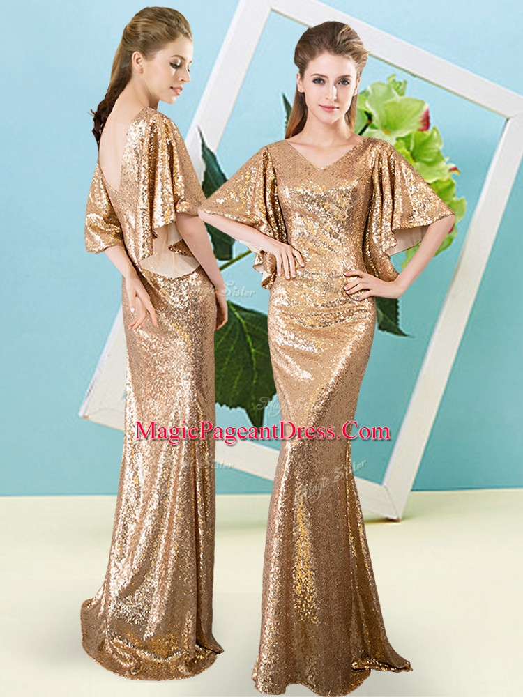 Super Mermaid High School Pageant Dress Gold V-neck Sequined Half Sleeves Floor Length Zipper