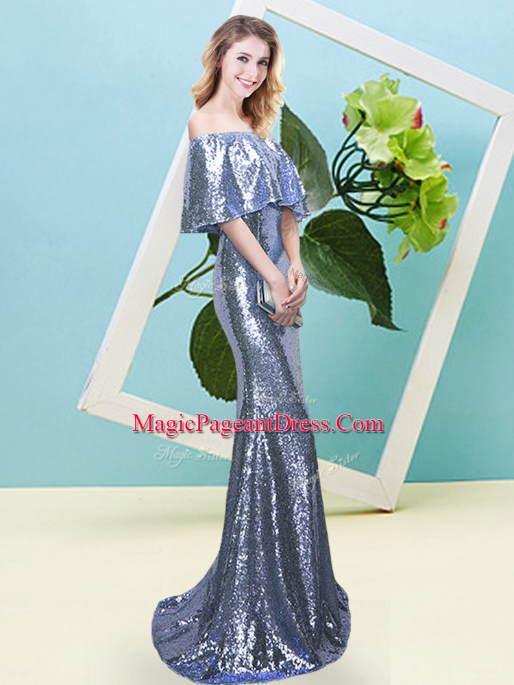 High End Blue Mermaid Off The Shoulder Half Sleeves Sequined Floor Length Zipper Sequins Pageant Dress