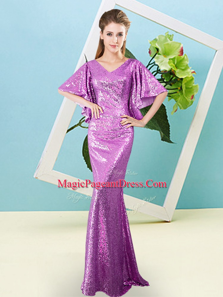 Deluxe Floor Length Lilac Pageant Dresses V-neck Half Sleeves Zipper