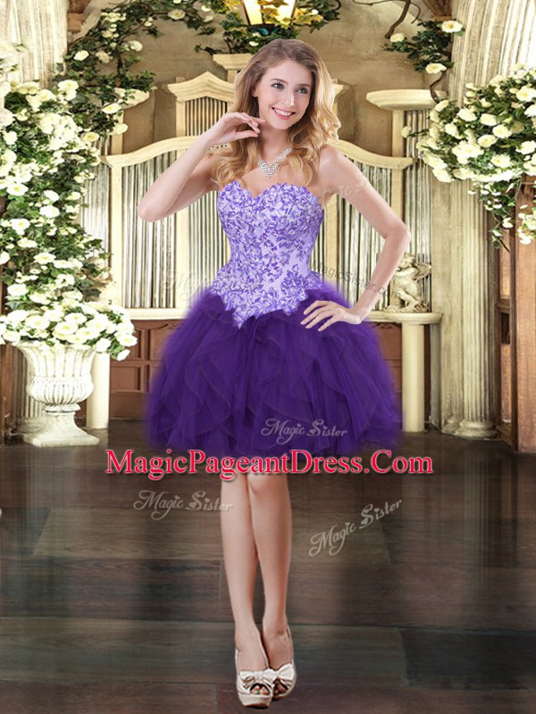 Pretty Purple Tulle Lace Up Glitz Pageant Dress Sleeveless Mini Length Appliques and Ruffles