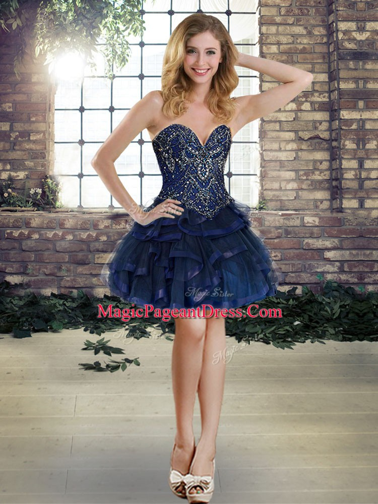 Beading and Ruffles Pageant Dress Toddler Navy Blue Lace Up Sleeveless Mini Length