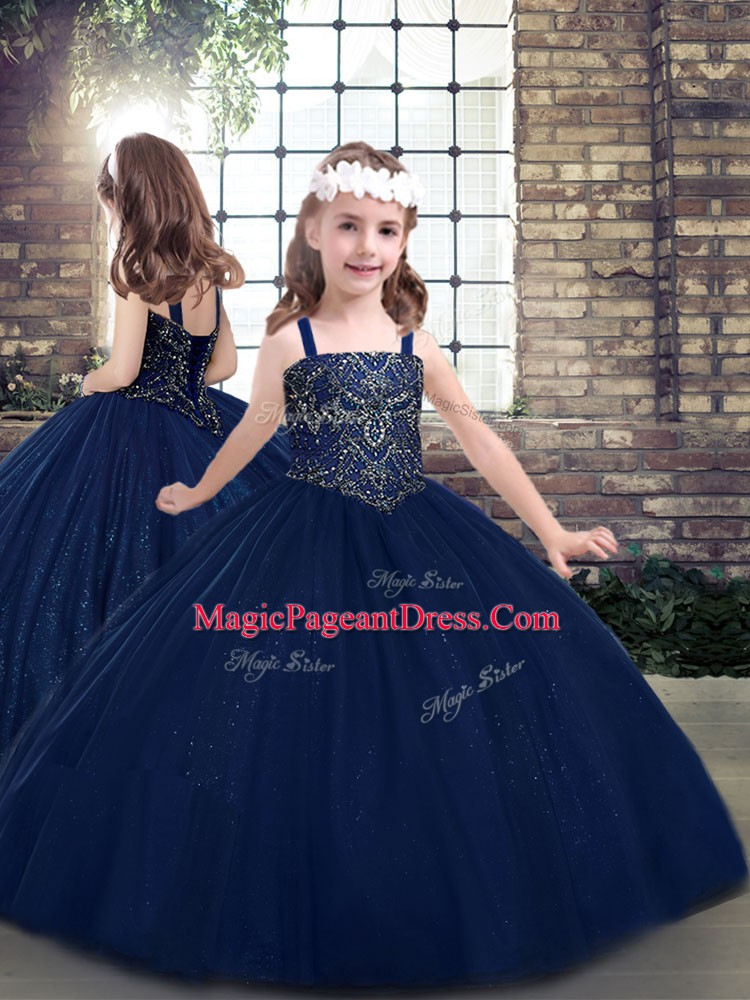 Navy Blue Ball Gowns Straps Sleeveless Tulle Floor Length Lace Up Beading Winning Pageant Gowns