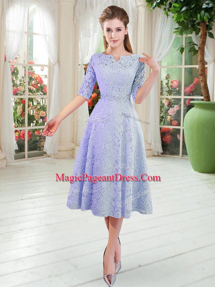 Classical Blue Half Sleeves Zipper Pageant Dress for Prom and Party