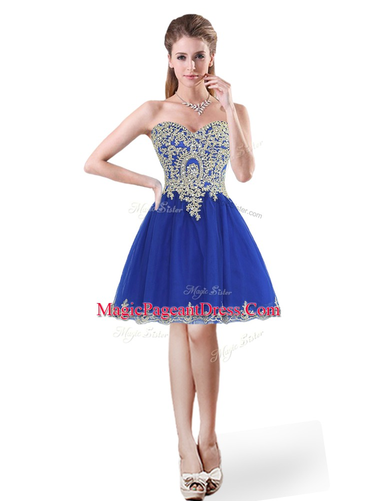 Fantastic Sleeveless Tulle Mini Length Lace Up Pageant Dress for Teens in Royal Blue with Beading and Appliques