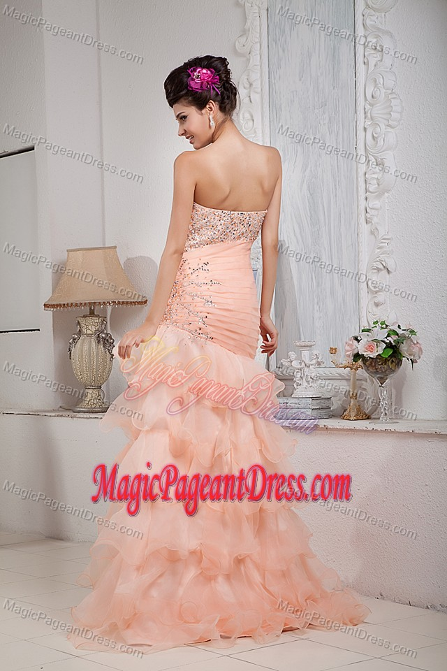 Baby Pink Sweetheart Organza Beaded Interview Pageant Suits in Floor-length in Troy