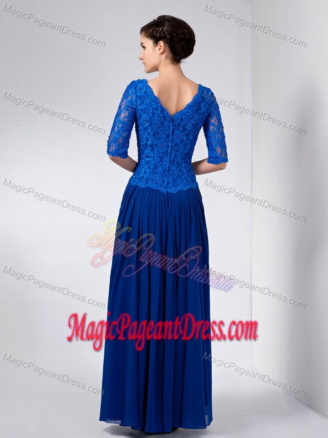Blue Column V-neck Ankle-length Pageant Dresses For Miss America in Brampton Ontario