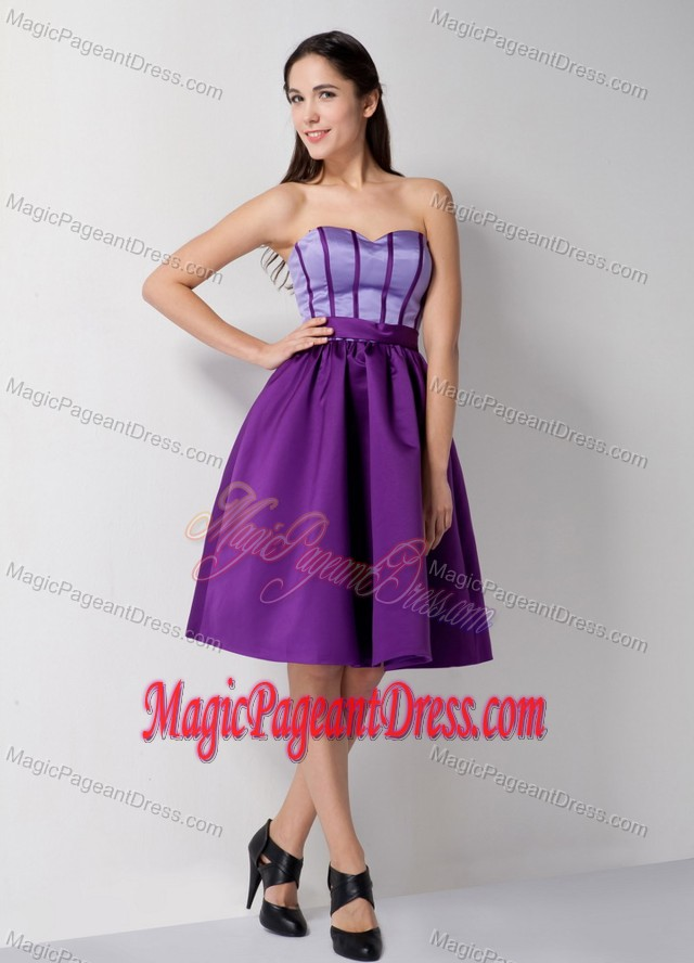 Sweetheart Knee-length Satin Beauty Pageant Dresses in Purple in Conyers
