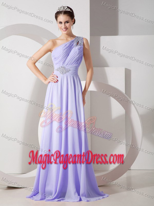 Lilac One Shoulder Beading Train Girl Pageant Dress in Waterbury