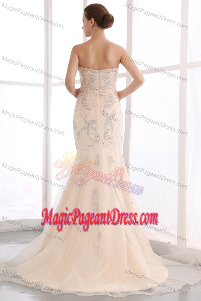 Sequins Mermaid Champagne Beauty Pageants Dresses with Court Train
