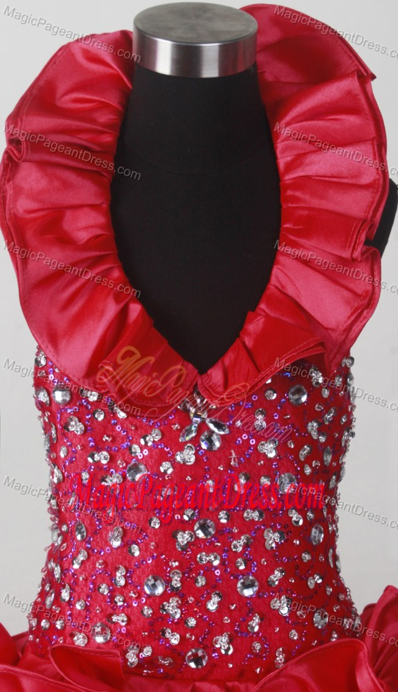 Red Little Girl Pageant Dress with Handle Flowers and Beading in Vermont
