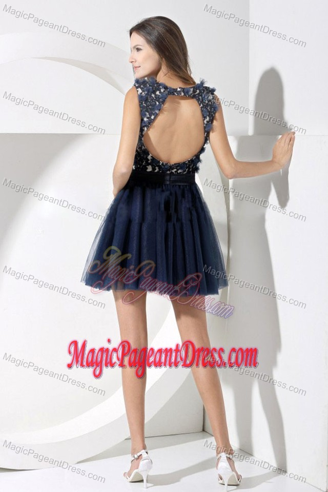 Navy Blue Short-Length Appliqued Straps Beauty Pageant Dress with Belt and Flower