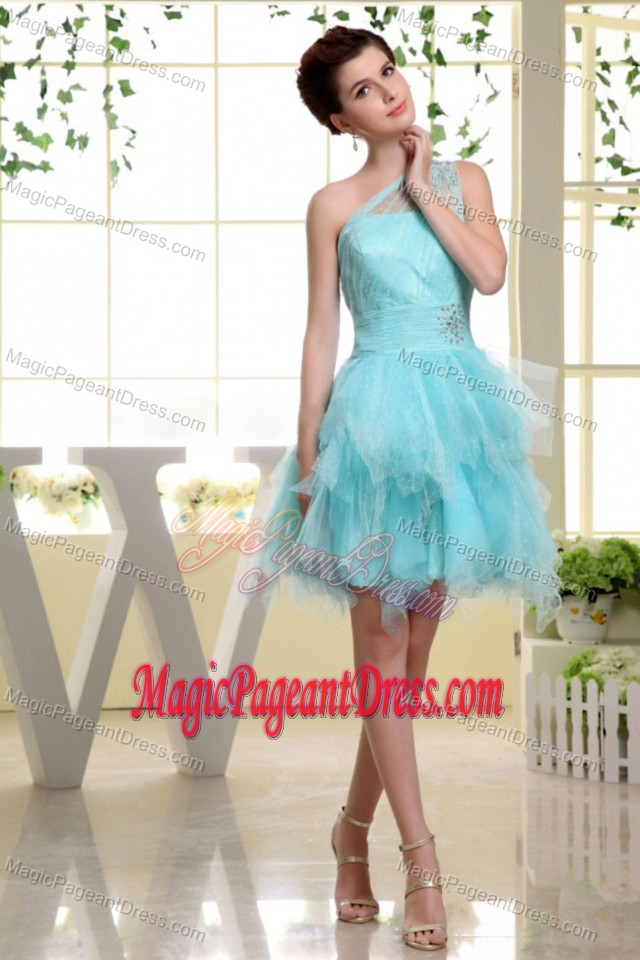 Sexy Sheath Light Blue Tulle Pageant Dress of Layers from Wayne