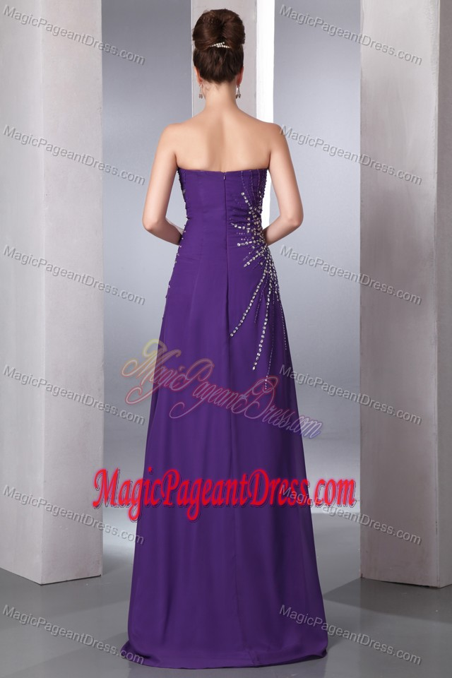 Floor-length Chiffon Beaded Sweetheart Pageant Dresses in Purple in Katy