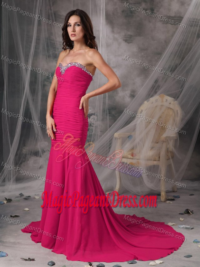 Sweetheart Mermaid Coral Red Court Train Girl Pageant Dress with Ruche