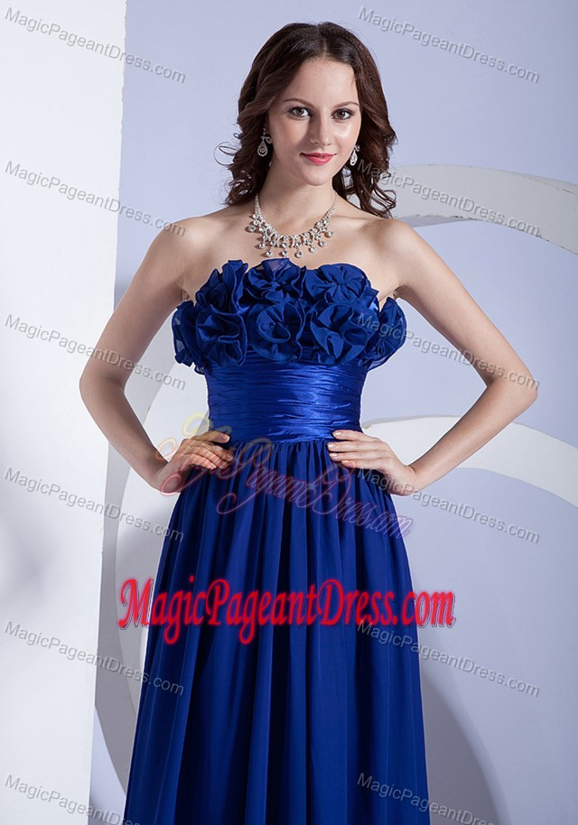 Modest Royal Blue Strapless Full-length Interview Pageant Suit with Flowers