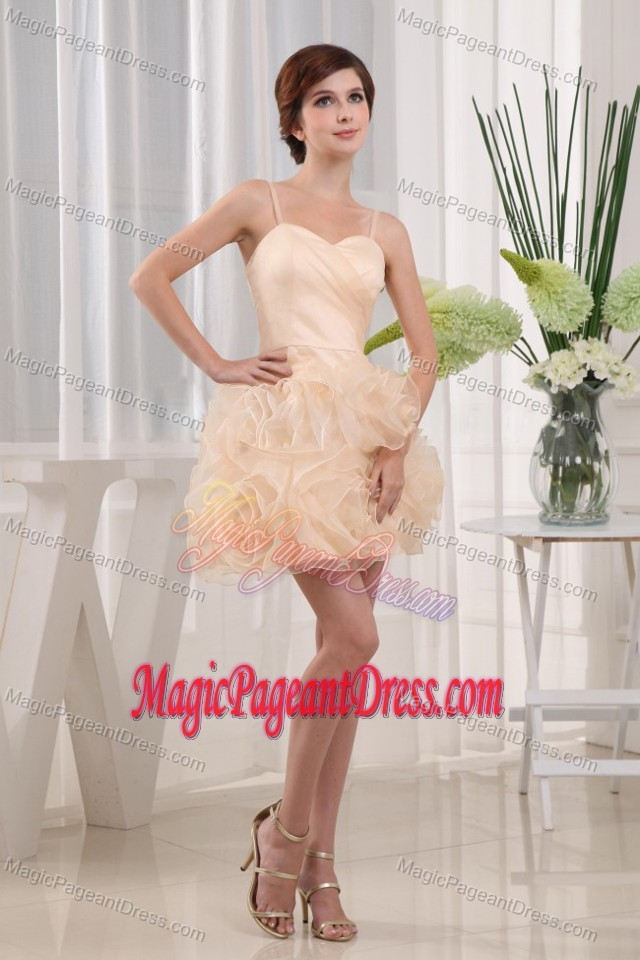 New Arrival Champagne Short Girl Pageant Dress with Flowers and Straps