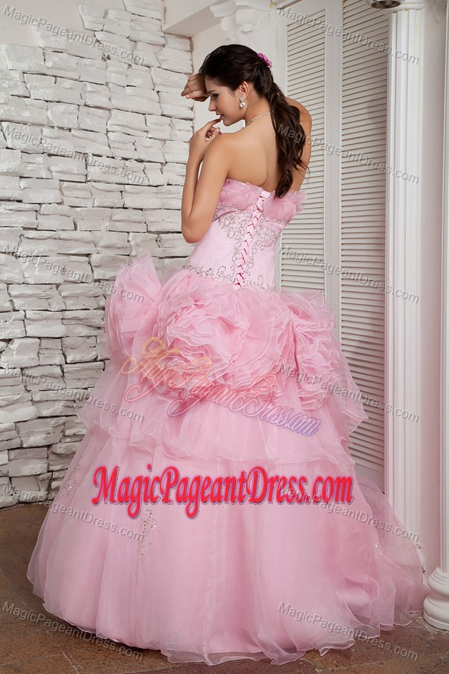 A-line Strapless Baby Pink Organza Pageant Dress in Beading in Hilo